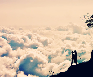 love, clouds, and couple image