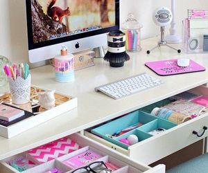 pink, room, and desk image