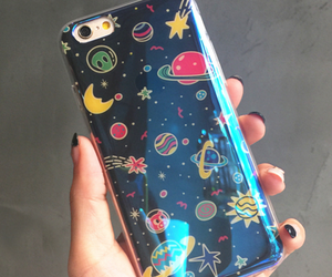 blue, phone case, and space image