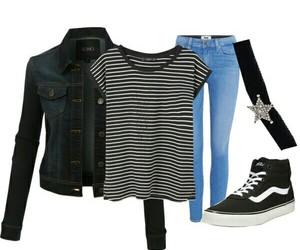 choker, denim jacket, and fashion image