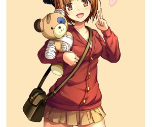anime girl, bear, and kawaii image