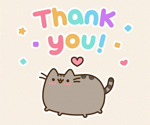 pusheen, cat, and thank you image