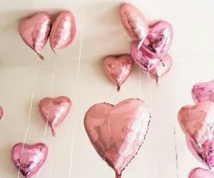 pink, balloons, and hearts image