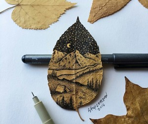 art, drawing, and leaf image
