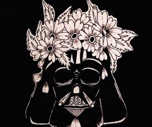 dark vader, darth vader, and flowers image
