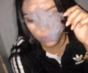 adidas, girl, and smoke image