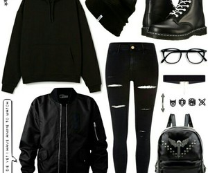 beanie, combat boots, and bomber jacket image