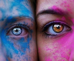 eyes, blue, and pink image