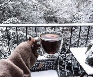 winter, snow, and coffee image