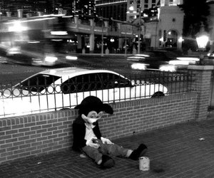 black and white, mickey, and sad image