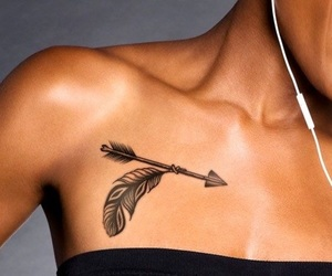 arrow, feather, and girl image