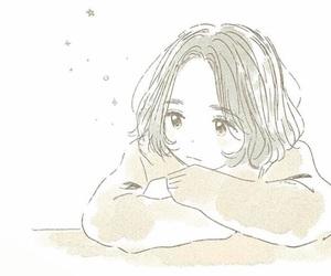anime girl, short hair, and star image