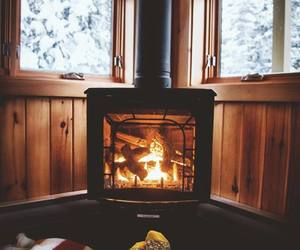 winter, cozy, and fire image