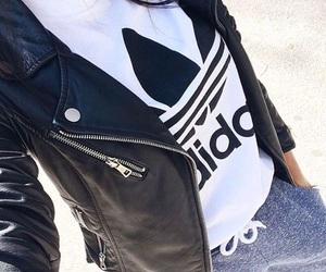 adidas and leather jacket image