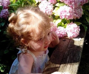 childhood, flowers, and little girl image