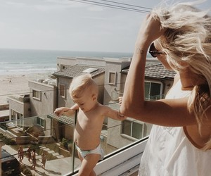 baby, blonde, and family image