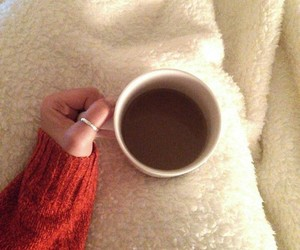 blanket, cup, and cafe image