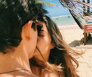 beach, kiss, and couple image