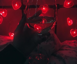 red, light, and hearts image