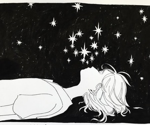 stars, art, and black and white image