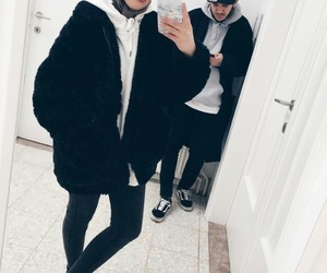 couple, fashion, and mirror image