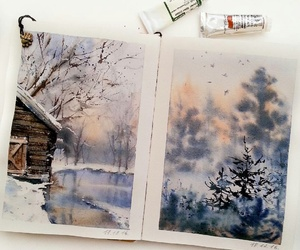 art, trees, and winter image