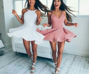 dress, pink, and friends image