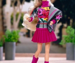 barbie, fashion, and flowers image