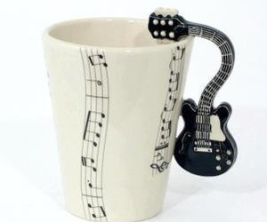 music, guitar, and cup image