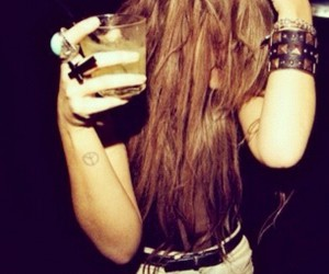 girl, drink, and hair image