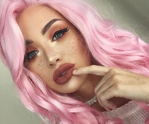 pink, freckles, and makeup image