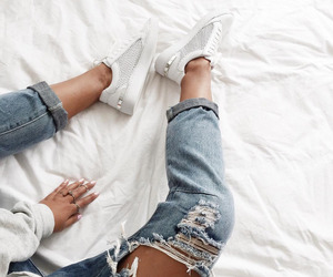 fashion, jeans, and sneakers image