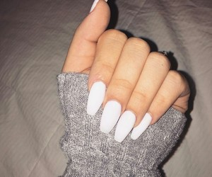 nails, long, and white image