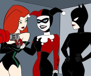 cat woman, poison ivy, and harley quinn image