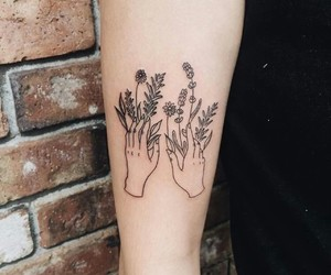 tattoo, flowers, and hands image
