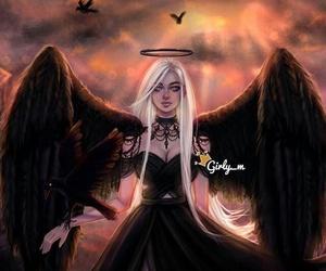 девушка, демон, and ангел image