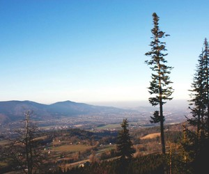 landscape, mountains, and trees image
