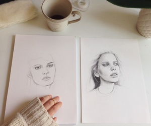 art, drawing, and coffee image