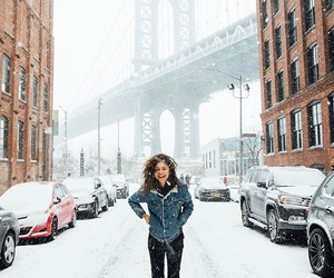 zendaya, snow, and new york image