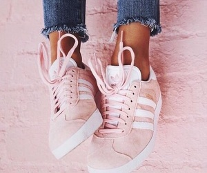 pink, adidas, and jeans image
