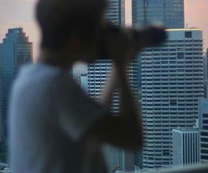 boy, camera, and city image