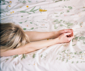 bed, girl, and flower image