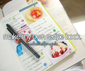 bucket list, recipe, and book image
