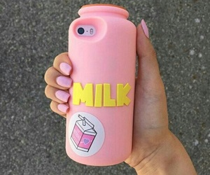 case, milk, and pink image