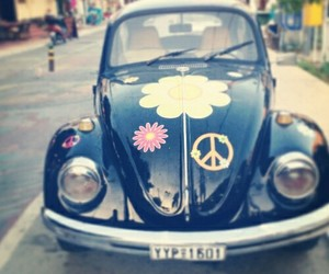car, peace, and love image