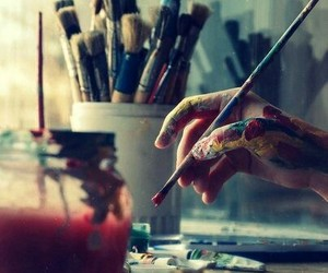 art, colours, and hand image