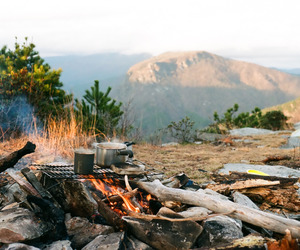 camping, adventure, and cooking image