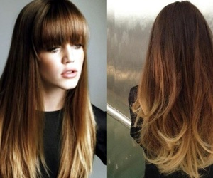 hair, ombre, and bangs image