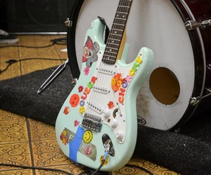 guitar, music, and stickers image