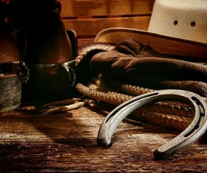 boots, cowboy, and horses image